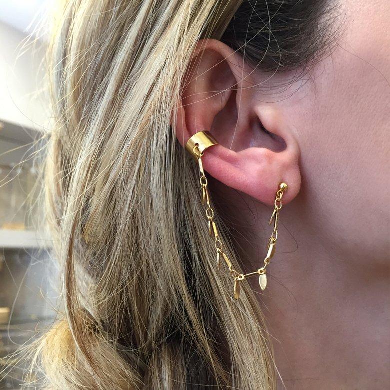 bijou d'oreille, bijoux en plaqué or, Boutique créateur bijoux paris, ear cuff chaine, myosotis, pepitebijoux