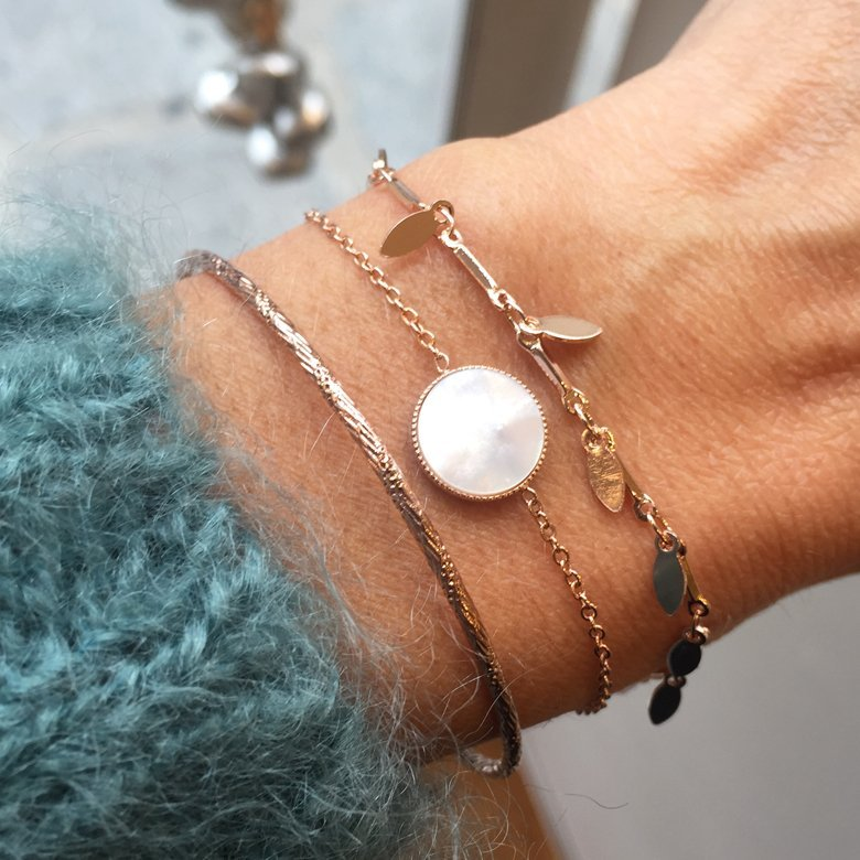 bracelet emma,plaqué or rose,myosotis,lea