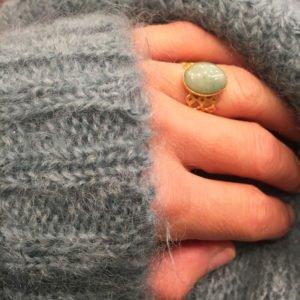 bague dentelle photo portée pépite bijoux