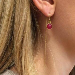 pepitebijoux,boucles d'oreilles,plaqué or,pierre sertie,photo portée