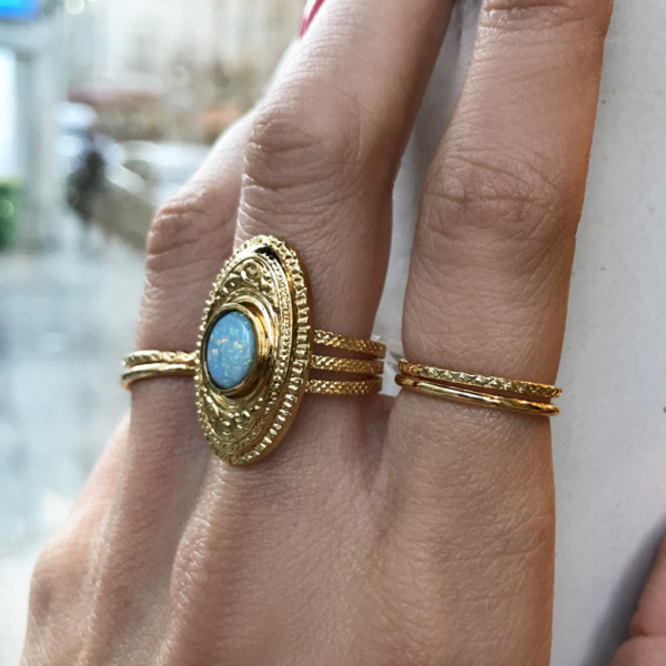 Gypsy, madeinparis, ring,gold, bague, or, 3 microns de carats, pierre naturelles, opale