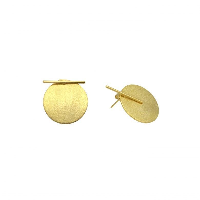 barrette, boucles d'oreilles plaqué or, boucles d'oreilles rondes, Joy, plaque brossée, plaque brossée amovible