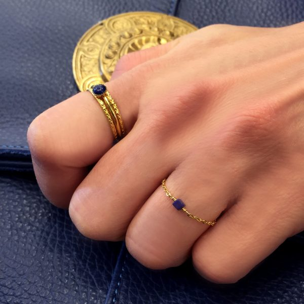Bague chaine, or, pierre cube, lapis lazuli, jewerly, made in paris, gold, ring, stone, precious, handmade