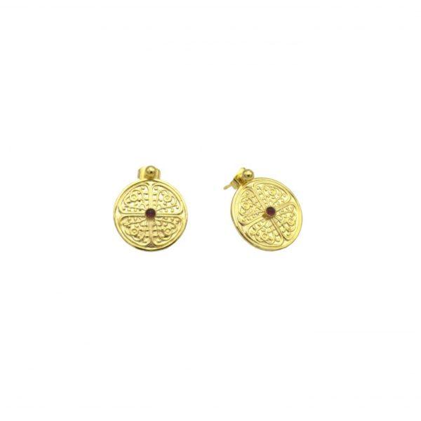pepite bijoux,boucles d'oreilles,grenat,plaque or,clarisse