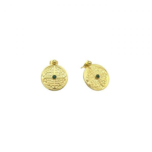 pepite bijoux,boucles d'oreillesmalachite,plaque or,clarisse