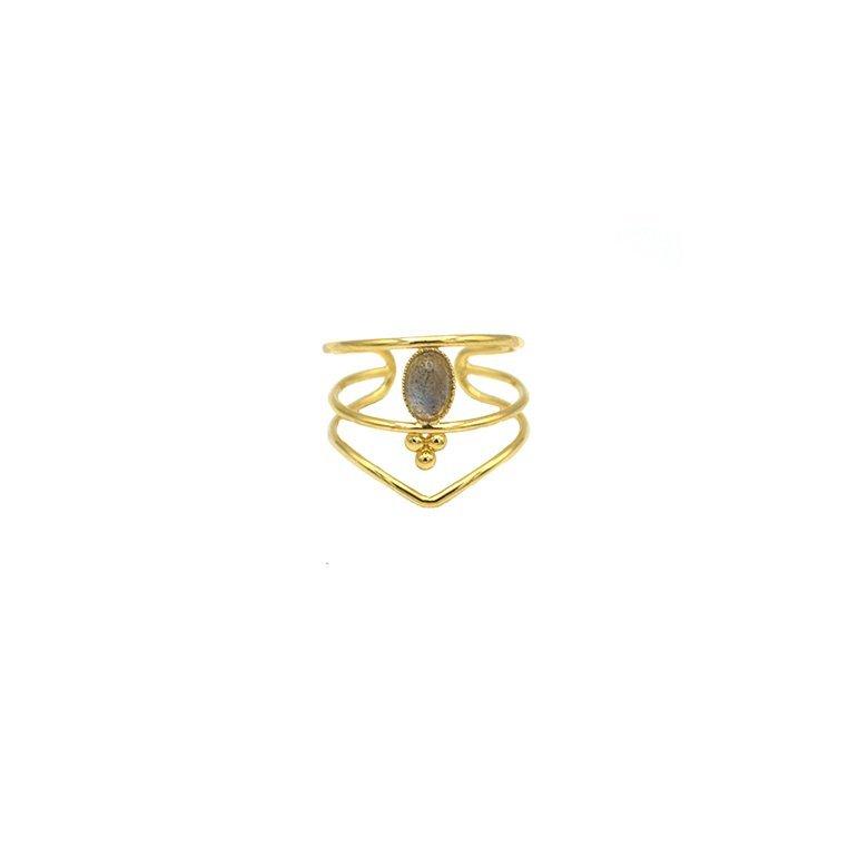 bague,plaqué or,pépite bijoux,labradorite