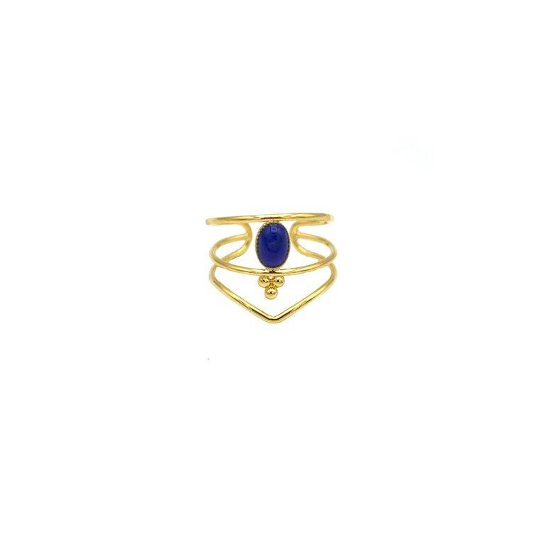 bague,plaqué or,pépite bijoux,lapis lazuli