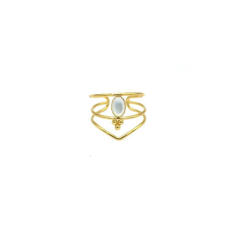 bague,plaqué or,pépite bijoux,nacre