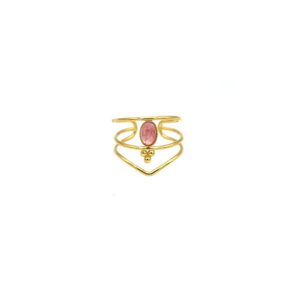 bague,plaqué or,pépite bijoux,rhodocrosite