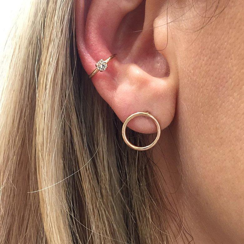pepite bijoux,ear cuff,porté,plaque or rose,ina