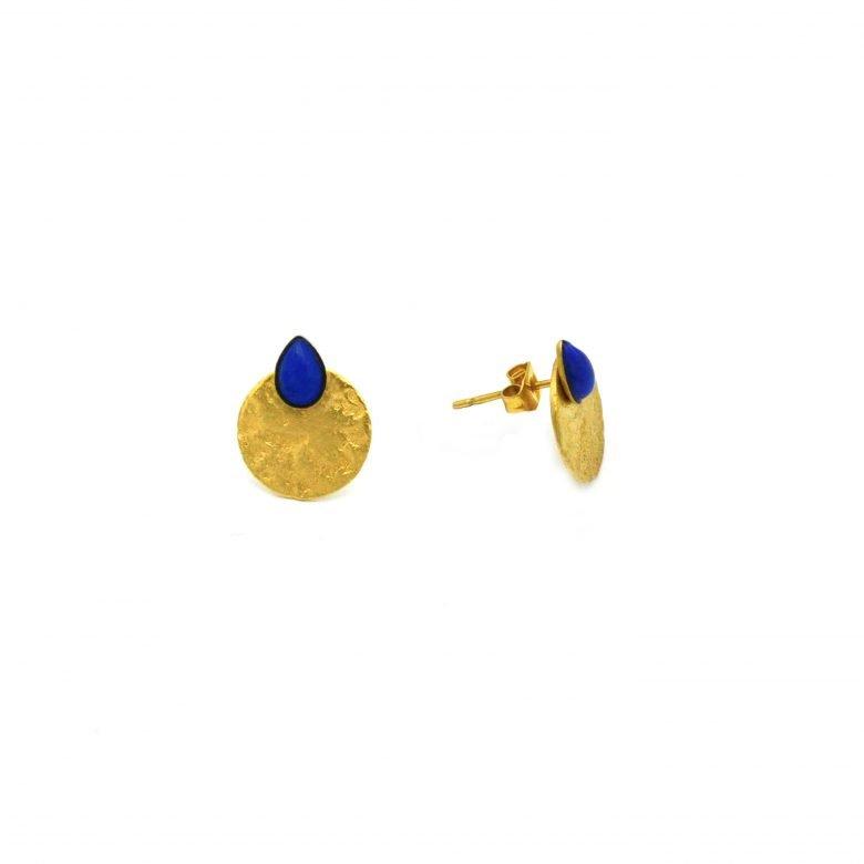 pepitebijoux,boucles d'oreilles,plaqué or,lapis lazuli