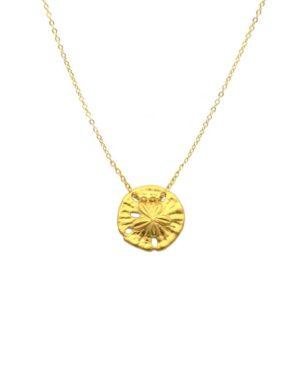 collier,plaqué or,pépite bijoux,nénuphar,doré,collier fin,collier été