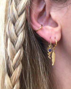 créoles, boucles d'oreilles, plume, plaqué or, pépite bijoux, or, ethnique, bohème, tendance, bijoux, indien