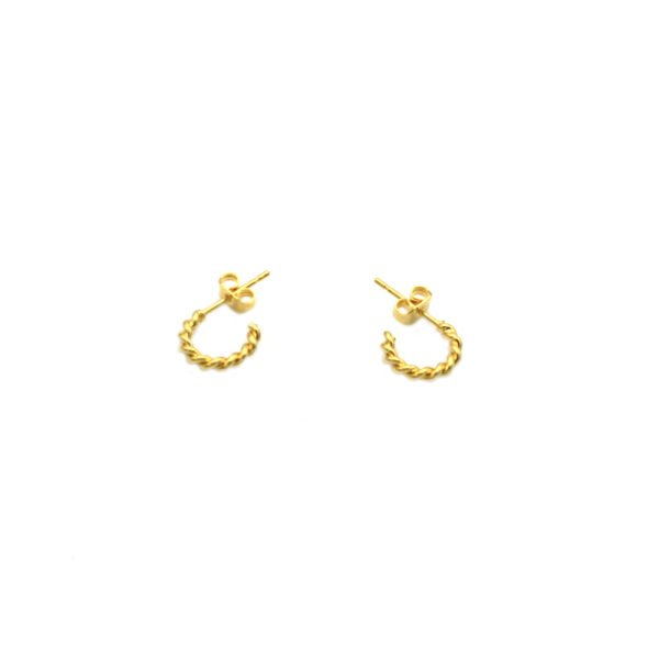 bijou,créoles,boucles d'oreilles,mini créoles,torsades,rétro,plaqué or,pépitebijoux