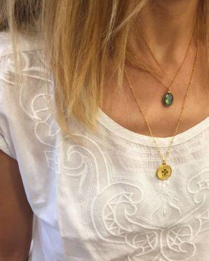 collier,plaqué or,pépite bijoux,trefle,doré,collier fin,collier été,charm,porte bonheur,luck,lucky,chance