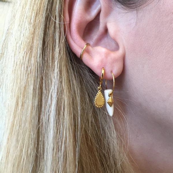 créole, boucles d'oreilles, pépite bijoux, ethnique, dent, griffe, losange, pierre naturelle, plaqué or, mini créole