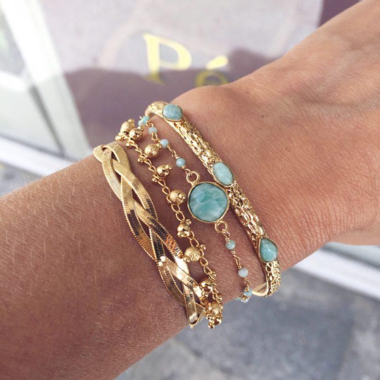 jonc,nina,bracelet delhi pierre sertie, amazonite, chaine boule