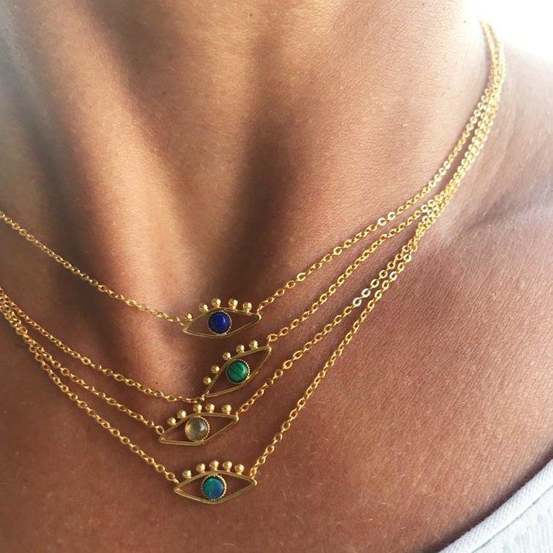 collier avec pendentif, collier avec pendentif oeil, lior, opale, pendentif oeil, ras de cou avec pendentif oeil, ras de cou pendentif, malachite, lapis, labradorite