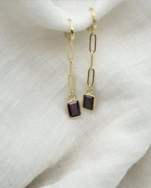 jess boucles d'oreilles pierre grenat pépite bijoux