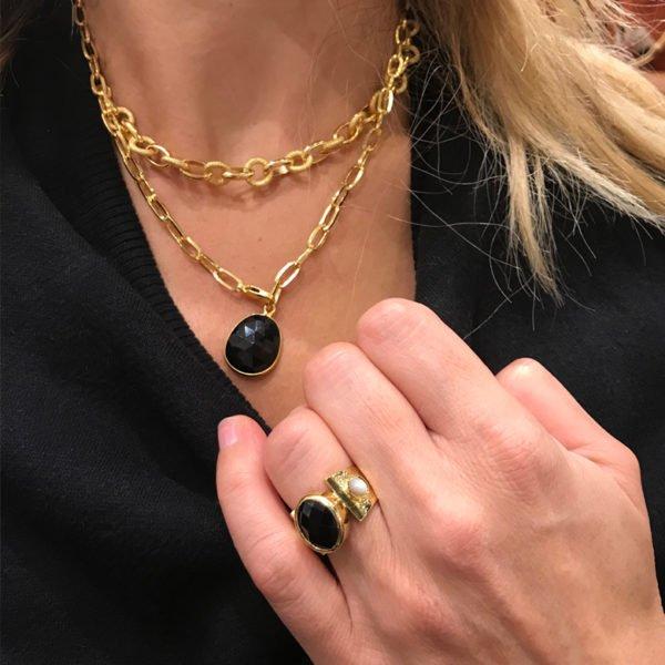 collier chloé pépite bijoux plaqué or photo portée