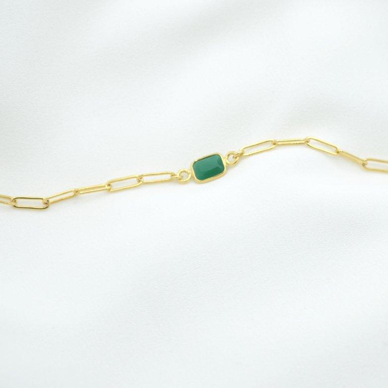 bracelet,jess,plaqué or,agate verte