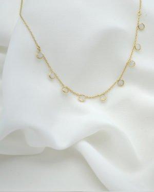 collier, juliette, pierre de lune. plaque or. pepitebijoux