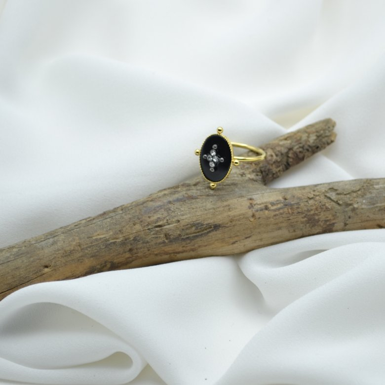 BAGUE KATE ONYX PLAQUE OR STRASS PEPITE BIJOUX