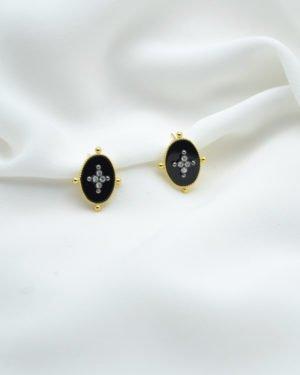 bo kate onyx brillant plaque or pepite bijoux