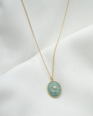collier pierre amazonite nacre plaque or pepite bijoux
