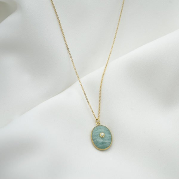 collier pierre amazonite nacre plaque or pepite bijoux