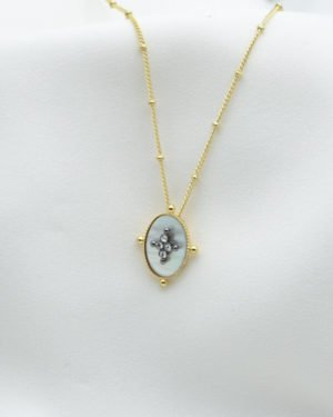 collier kate nacre brillant plaque or pepite bijoux