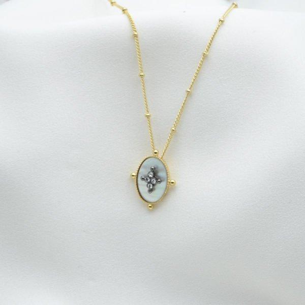 collier kate nacre brillant plaque or pepite bijoux