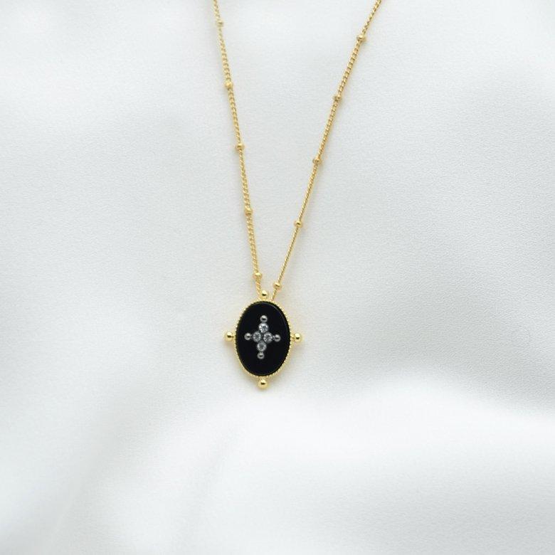 collier kate onyx brillant plaque or pepite bijoux