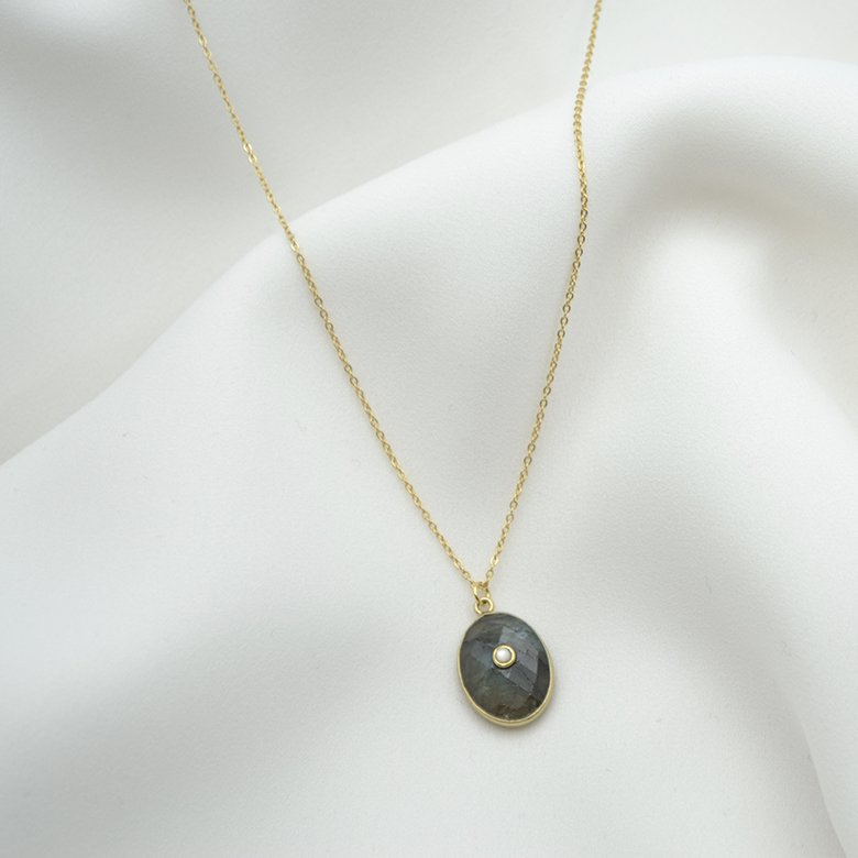 collier lola pierre sertie labradorite nacre plaque or pepite bijoux