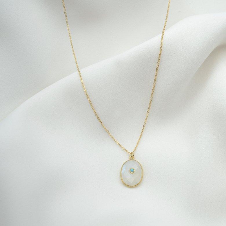 collier lola pierre de lune et turquoise plaque or pepite bijoux