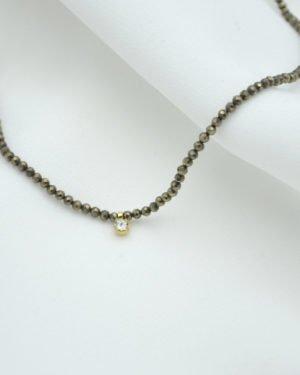 collier, naya, pyrite, strass, pepite, bijoux