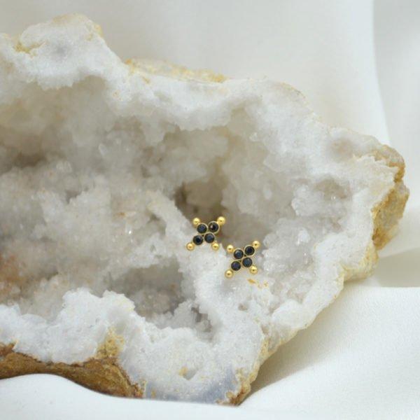 puces d'oreilles kate spinelle plaque or pepite bijoux