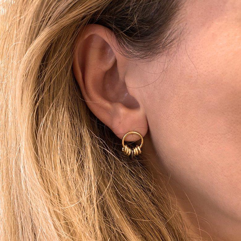 agate verte, boucles d'oreilles, boucles d'oreilles anneau, calcédoine, créoles, mini créoles, petites créoles, puces d'oreilles, puces d'oreilles anneau, Roxane