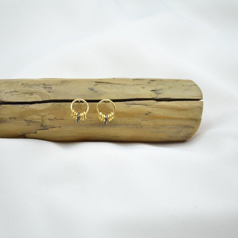 Bo puces roxane plaque or et ruthenium pepite bijoux