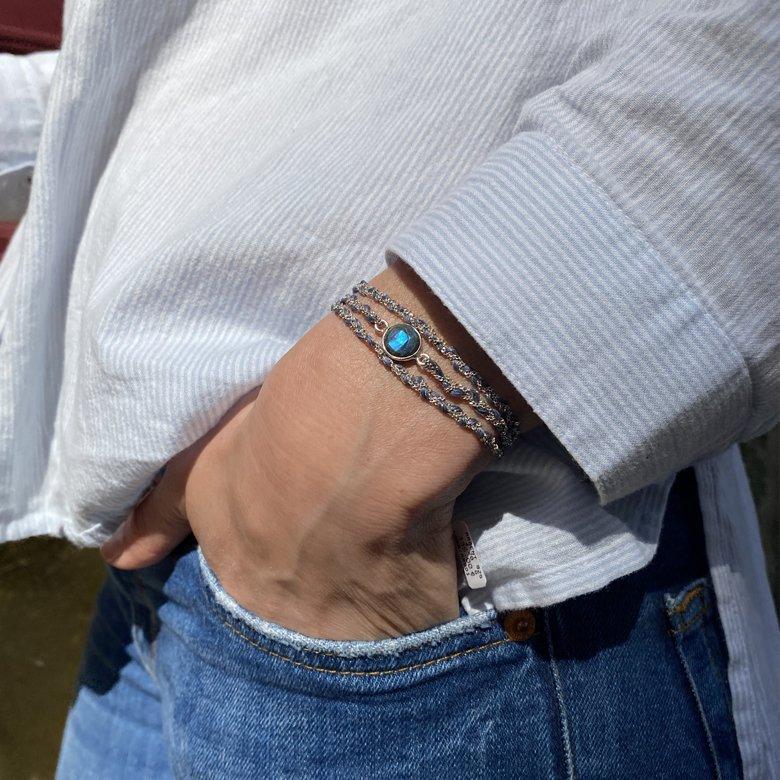 argent, bracelet multi rangs, bracelet multi rangs argent, bracelet multi tours argent, bracelet multi-tours, bracelet tressé, bracelet tresse argent, tresse, labradorite