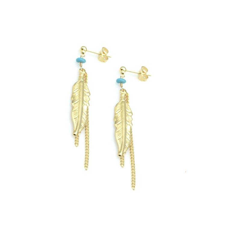 arizona,boucles d'oreilles,plumes,pépitebijoux