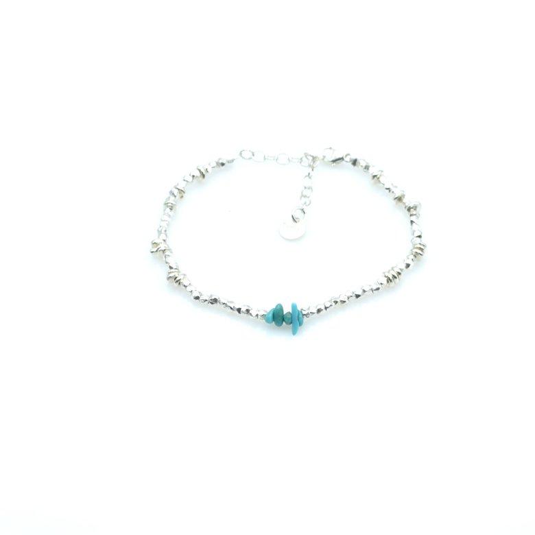 bracelet,perle argent,chips,turquoise,pepite bijoux