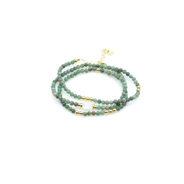 bracelet triple tours jaspe et pdl