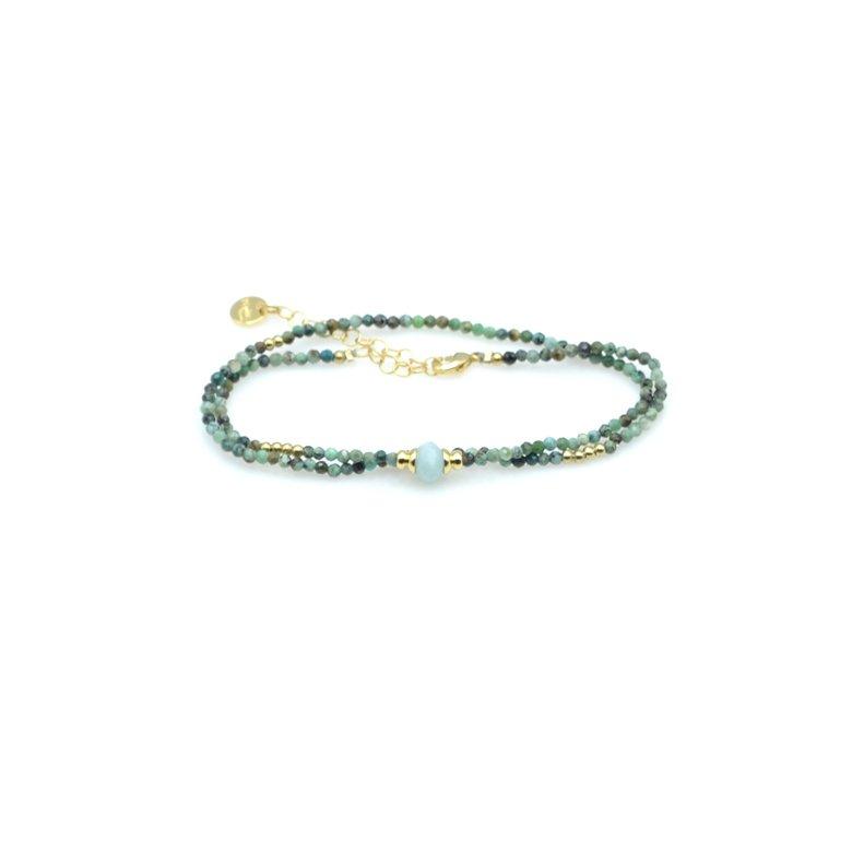 bracelet double tours jaspe africain amazonite