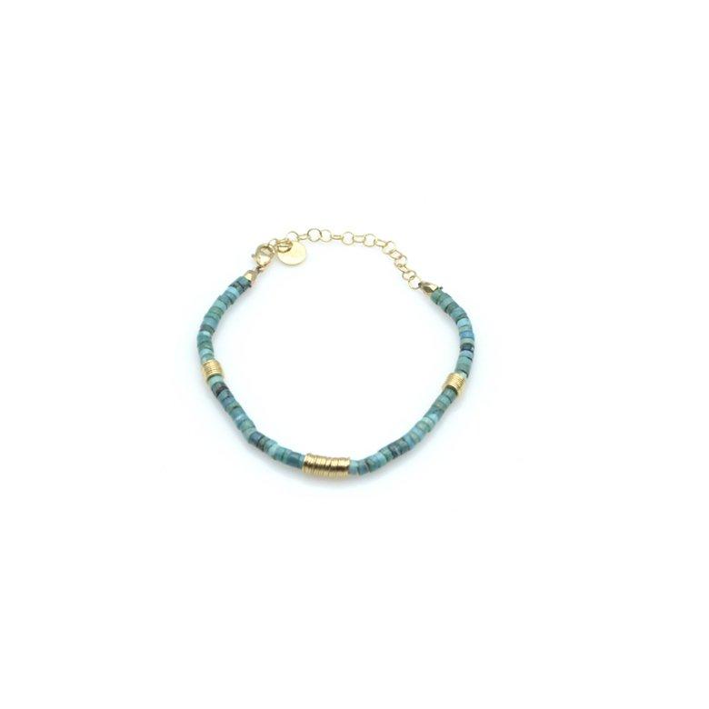 bracelet,plaqué or,dique,turquoise