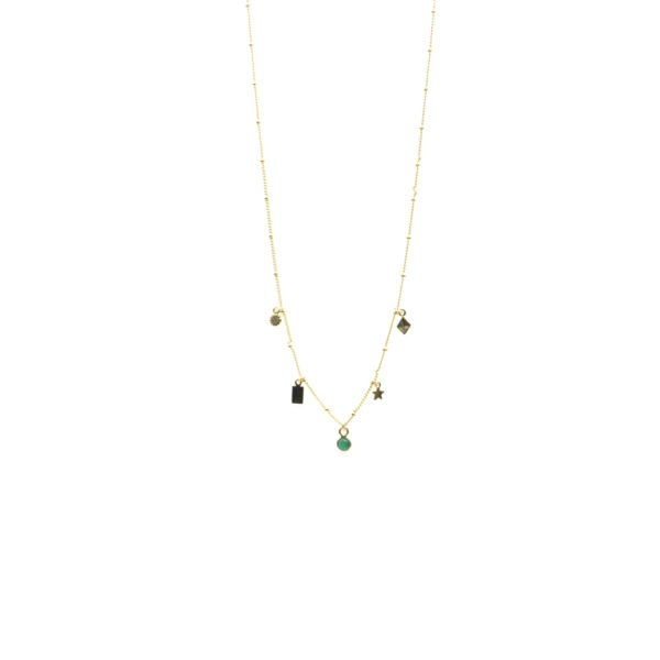collier,charms,agate verte,plaqué or