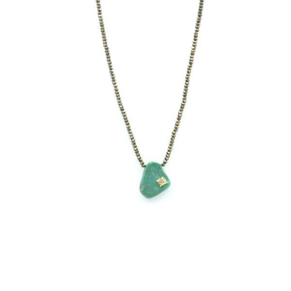 collier,pyrite,turquoise,losange brillant,plaqué or