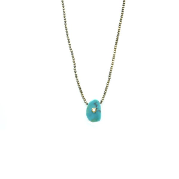 collier,pyrite,turquoise,nacre,plaqué or