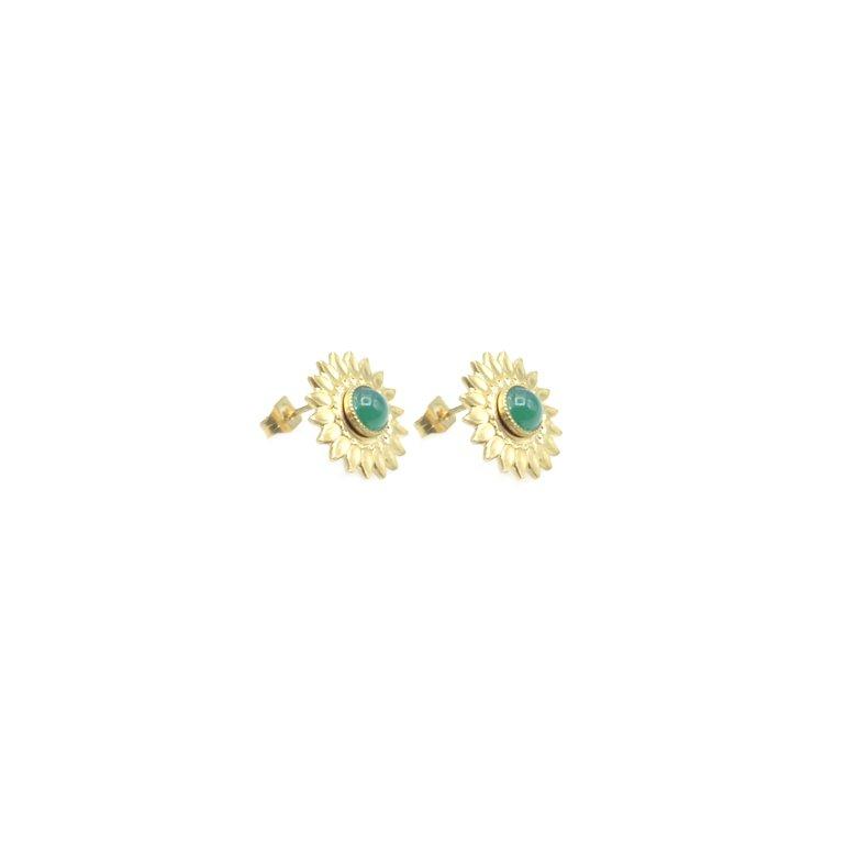 puces d'oreilles,sun,fleur,plaqué or,pépitebijoux,paris,french designer,creation française