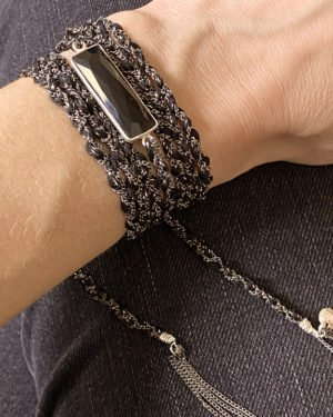 Bracelet,ruthénium,argent,onyx
